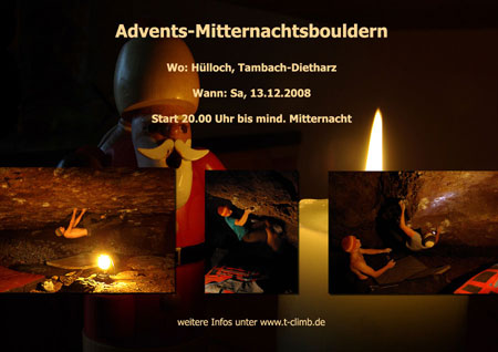 Flyer Hülloch Mitternachts Adventsbouldern